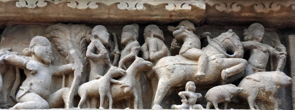 Hunting, Lakshmana temple, Khajuraho
